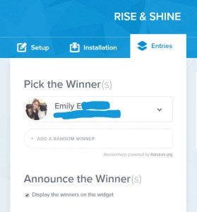 rise and shine giveaway winner
