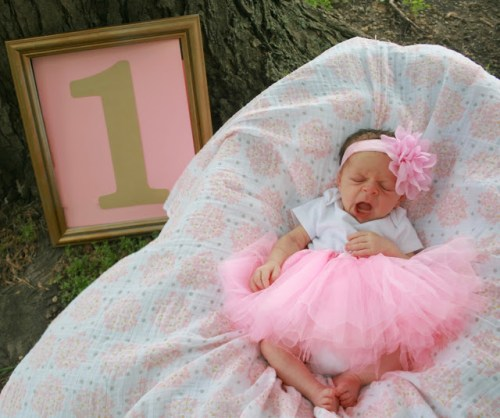 one month old so cute in a tutu