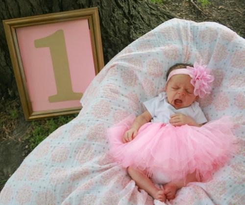 one month old so cute in a tutu