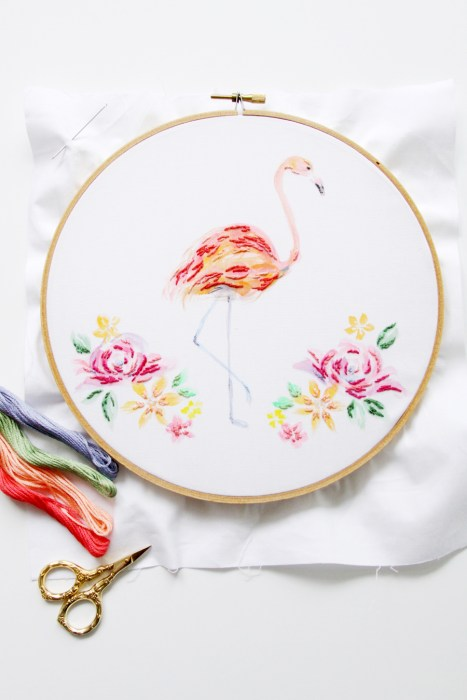 mixed media flamingo hoop art