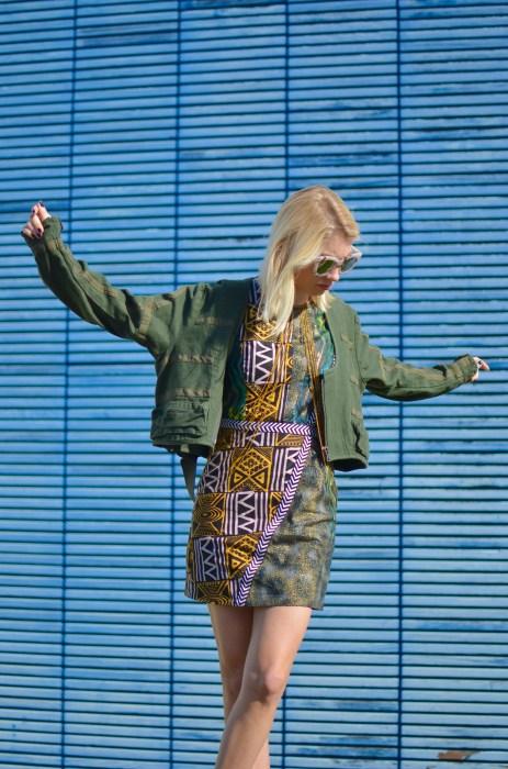 parachute jacket and print dress combination