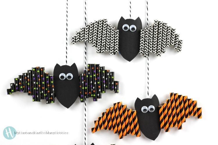 diy halloween straw bats