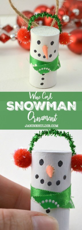 diy cork snowman ornament