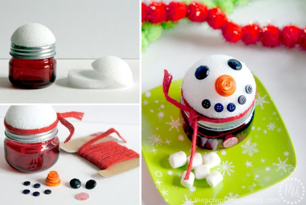 diy winter craft snowman jar