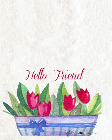 hello spring note card free printable