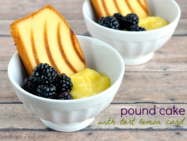 grilled lemon pound cake with blackberries