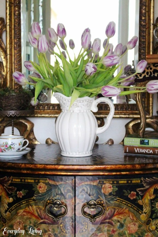 spring tulips in white pitcher