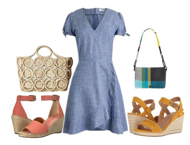 cute spring outfit with chambray dress