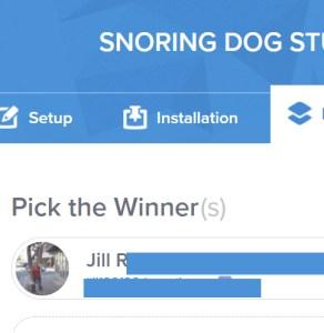 snoring dog giveaway winner
