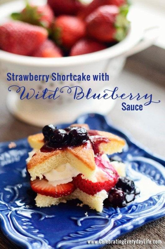 strawberry shortcake with blueberry sauce