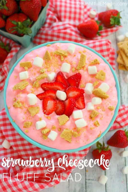 strawberry cheesecake fluff salad dessert