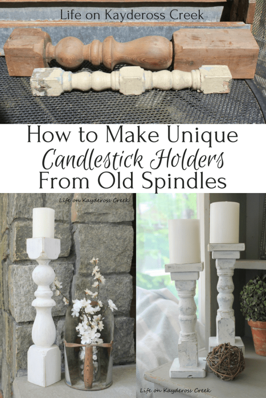 DIY candlesticks from spindles