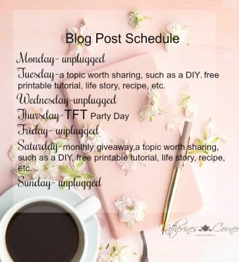 katherines corner blog schedule