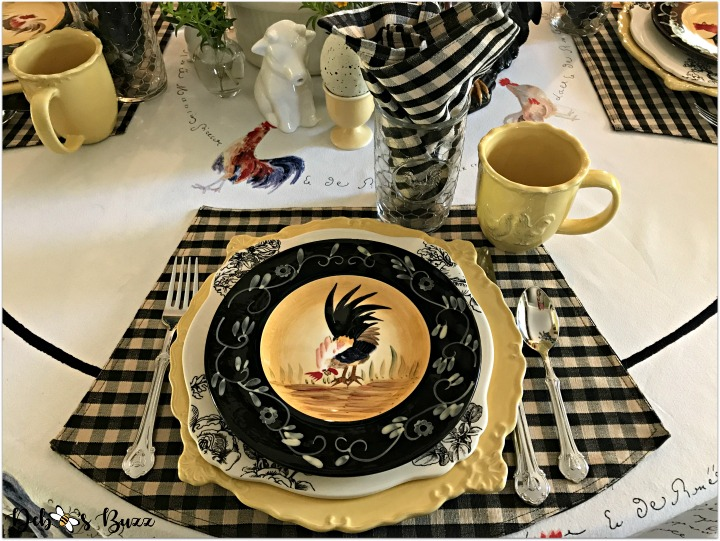 fall farm rooster tablescape