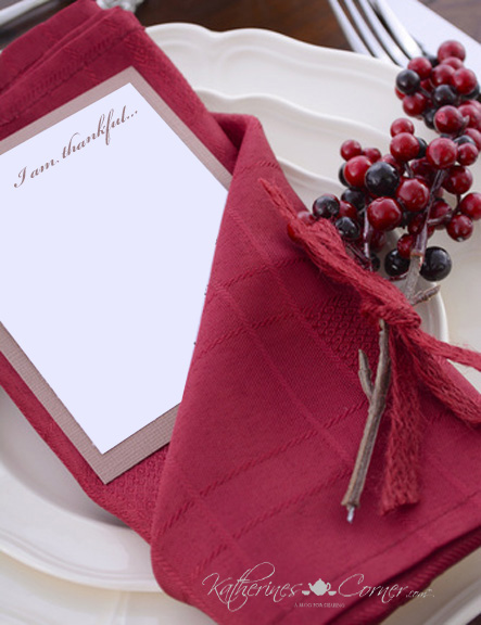 tuck a note pad and pencil into the napkin to write what you are thankful for