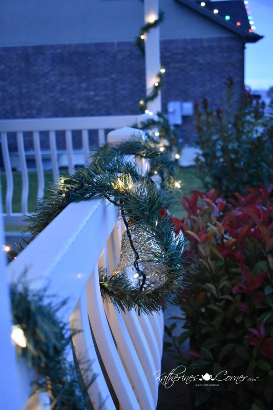 christmas on the porch railing