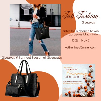 enter to win this black tote set