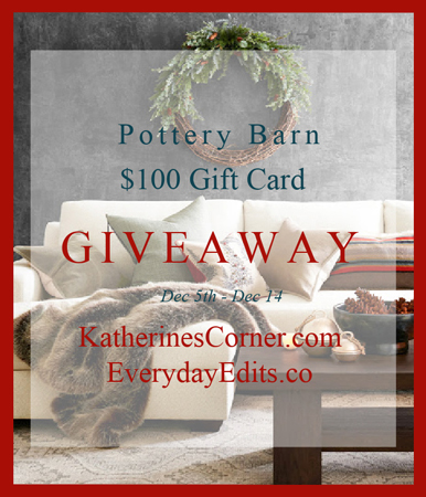 pottery barn 100 dollar gift card giveaway starts Dec 5