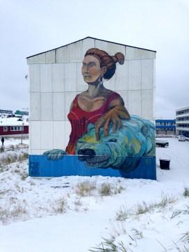 Art on building, Nuuk Streetscene