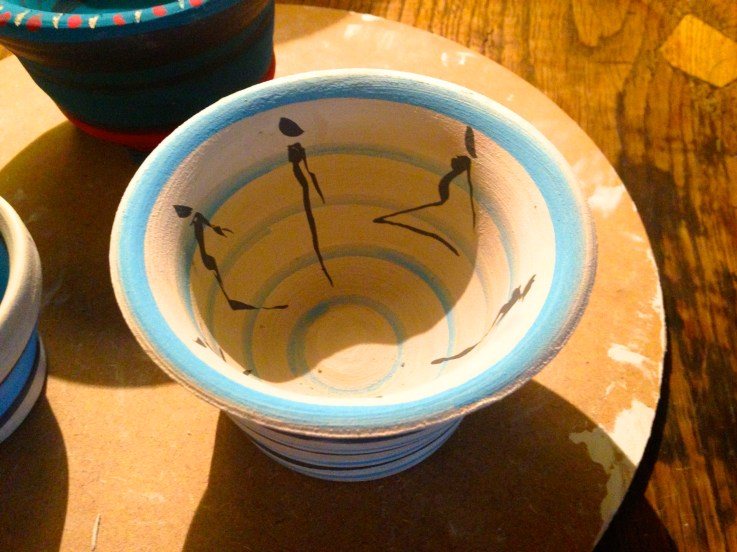 Painted Silhouettes on Clay