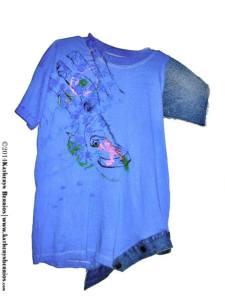 t-shirt Diablo: Diablada , trazos ,algodón sobre tela, pintado a mano , mistura con denim manga, esquina pretina.