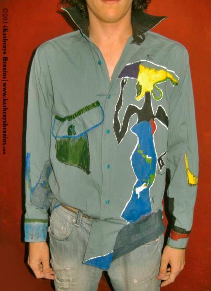 Camisa Mulata: pintura a mano y mixtura de telas. Moda de Autor-Atemporal