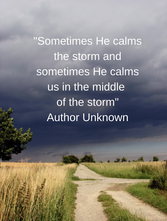 Sometimes He calms the storm and sometimes He calms us in the middle of the storm