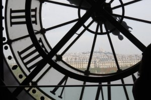 Paris from the behind the big clock on the top floor or the Orsay.
