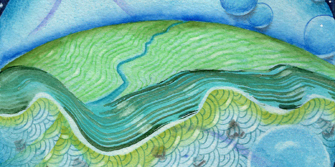 Blue Planet Closeup River Ocean, detail of watercolor, drawing collage by Kathleen O'Brien