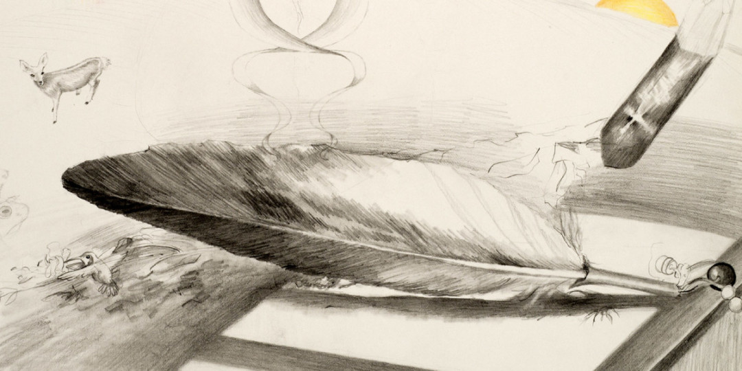 """Eagle Feather"", detail of drawing,  by Kathleen O'Brien"