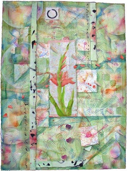 """Kathleen O'Brien, """"Gladiola Garden"""", collage"""