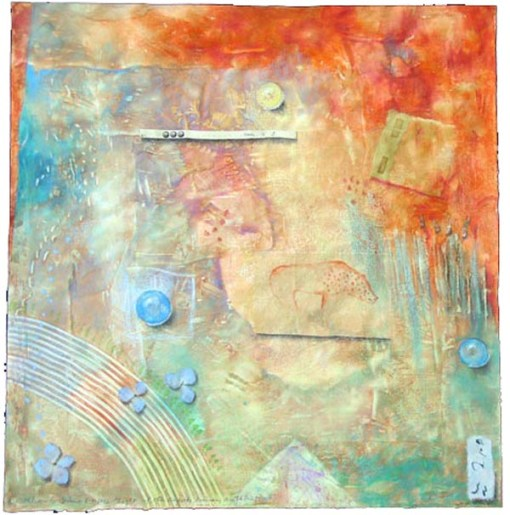 """Kathleen O'Brien, """"Light of the Earth 3"""", collaged drawing on paste paper"""