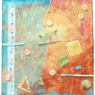 """Kathleen O'Brien, """"Light of the Earth 6"""", collaged drawing on paste paper"""