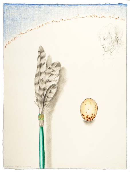 "Kathleen O'Brien, ""Hawk Feather Prayer Stick"", drawing"