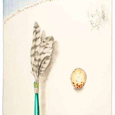 "Kathleen O'Brien, ""Hawk Feather Prayer Stick"", drawing"