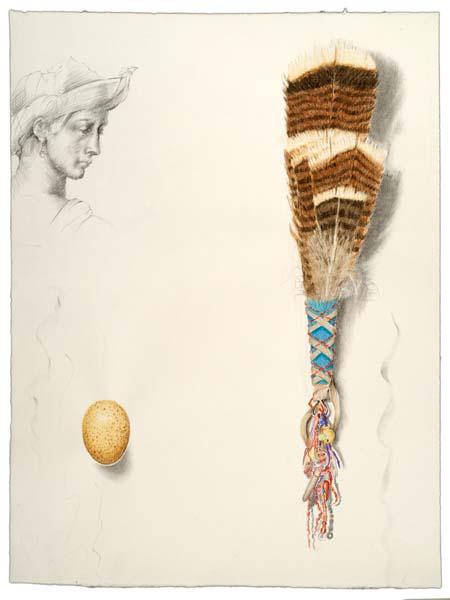 """Kathleen O'Brien, """"Turkey Feather Fan"""", drawing"""