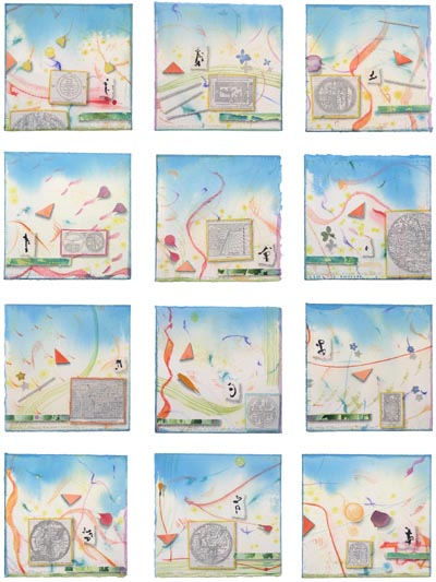 """Kathleen O'Brien, """"World Views"""", multiple of 12 collages"""