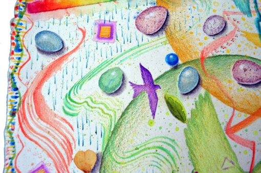 """""""Egg Hunt, Ostara"""", detail 3, watercolor, drawing, collage by Kathleen O'Brien"""