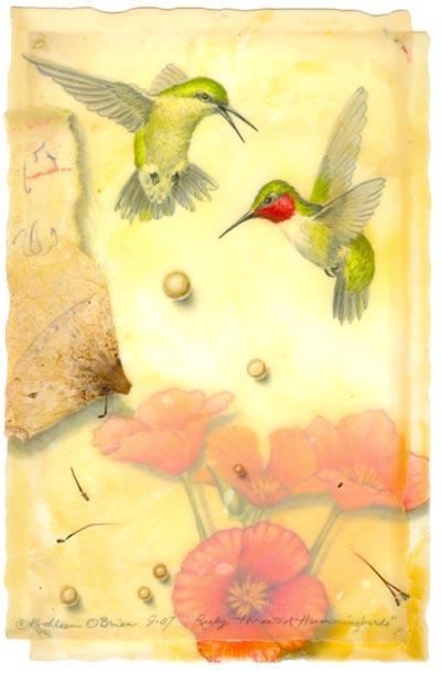 Ruby Throated Hummingbirds, Giclee Print