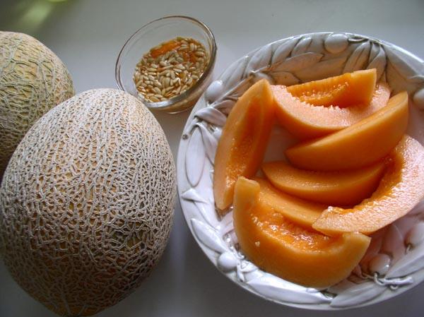 Secrets; cantaloupes, whole, cut and seeds to save