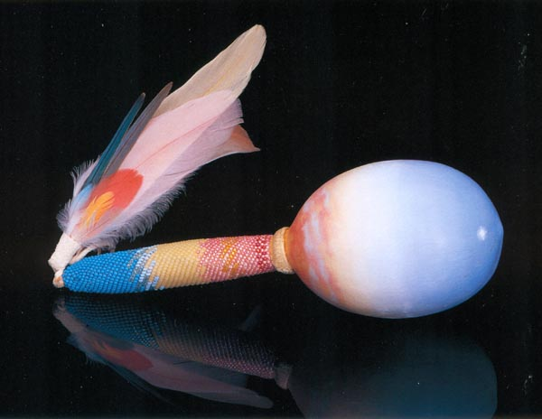 """Dawn Rattle"", 1985, oil painted gourd, beadwork, feathers by Kathleen O'Brien"