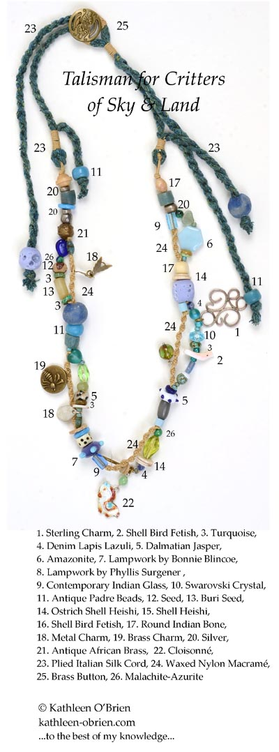 """Talisman for Critters of Sky & Land"" necklace bead ID by Kathleen O'Brien"
