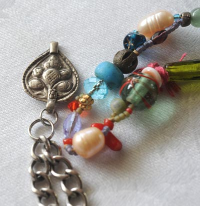 """Talisman for Safe Journey"" necklace detail by Kathleen O'Brien"