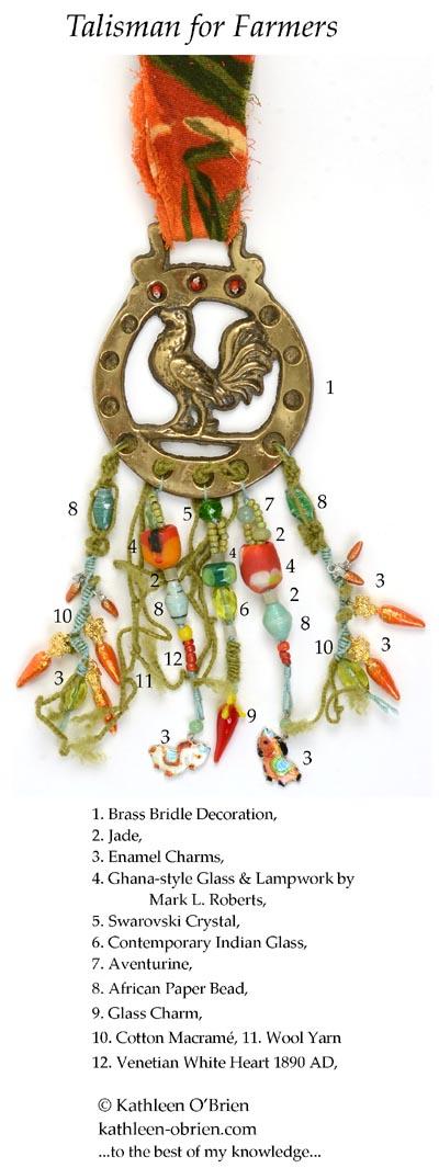 """Talisman for Farmers"" bridle decoration bead ID Kathleen O'Brien"