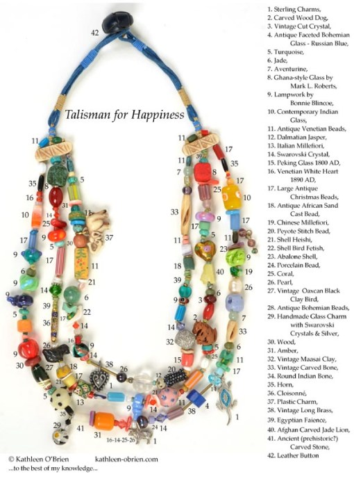 """Talisman for Happiness"" necklace bead ID by Kathleen O'Brien"