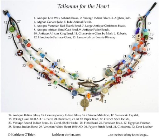 """""""Talisman for the Heart"""" necklace bead ID Kathleen O'Brien"""