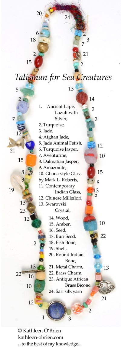 """""""Talisman for Sea Creatures"""" necklace bead ID by Kathleen O'Brien"""