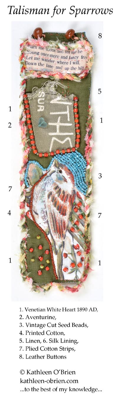 """Talisman for Sparrows"" bracelet cuff bead ID Kathleen O'Brien"