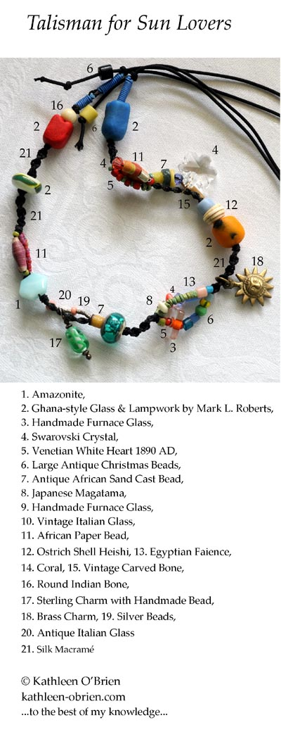 """""""Talisman for Sun Lovers"""" necklace bead ID by Kathleen O'Brien"""