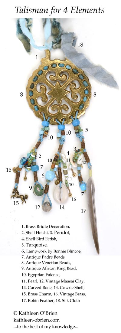 """Talisman for 4 Elements"" bridle decoration bead ID Kathleen O'Brien"